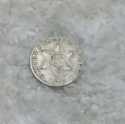 1856 3 cent silver - full border around center star - Free Shipping