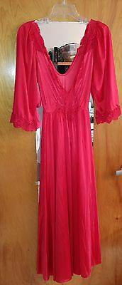 """Vtg 70s Red OLGA Silky Nylon Nightgown W Lace 88"""" Full Sweep Hem LARGE  AS IS"""