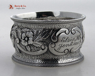 Coin Silver Napkin Ring Floral Repousse 1870