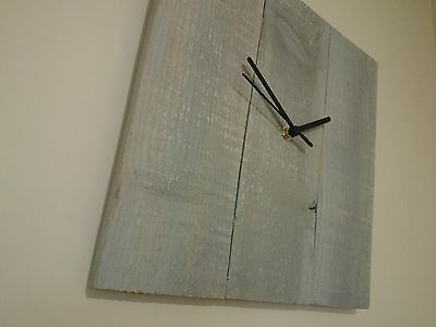 Rustic recycled square wooden clock with grey painted finish and black hands