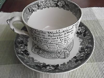 ANTIQUE Adams ENGLAND STAFFORDSHIRE Oversized Cup/Saucer In God is our  Trust