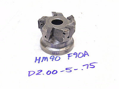 """Used Iscar Carbide Indexable 2"""" Face Mill Hm90 F90A-D2.00-5-.75 (Adkt/admt/adcr)"""