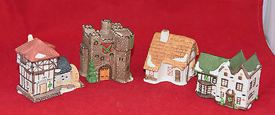 Set of 4 DEPT 56 Small Houses CASTLE, BYEE FARM, 1786 BLYTHE PONO, COTTAGE