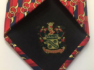 PAOLO GUCCI Silk Neck Tie~Deep Red w/ Navy Blue & Gold Geometric~ITALY