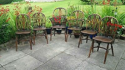 Antique Windsor Farmhouse Bow/Fiddle Back Dining Chairs Set of 6