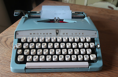 Vintage Brother Deluxe Blue Portable Typewriter See Photographs