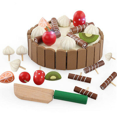 Wooden Baby Kitchen Toys Pretend Play Cutting Cake Play Food Kids Toy Wooden Toy