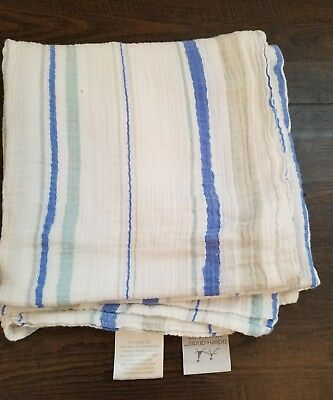Aden + Anais Swaddle Muslin Blanket- Blue Stripe- Boys