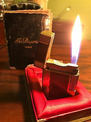 Collectable  S.T DUPONT FRANCE CHINESE LACQUER & GOLD PLATED LIGHTER SMALL 9196Y