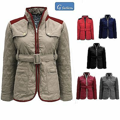 da927be1b8c NEW LADIES QUILTED Padded Button Zip Jacket Casual Women s Coat Plus ...