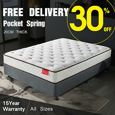 Mattress Double Queen Single King Size Pocket Spring Deluxe Foam for Bed Roll Up