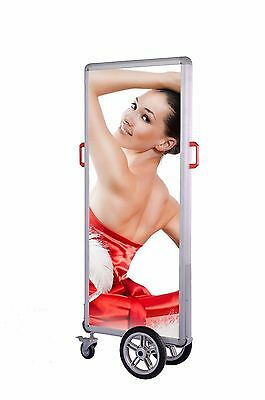 Backlit light box portable display with wheels mobile advertising stand