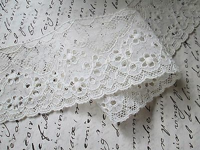 Antique embroidered lace off white cotton/France