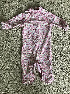 Mothercare Girls Pink Floral Swimsuit - Factor 50 Proof - 9-12 Months