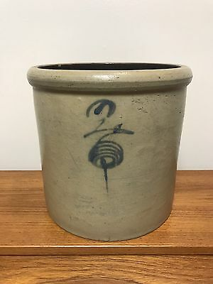 Rare Minnesota Stoneware #2 Salt-glazed Bee Sting Crock With Mark Red Wing, MN