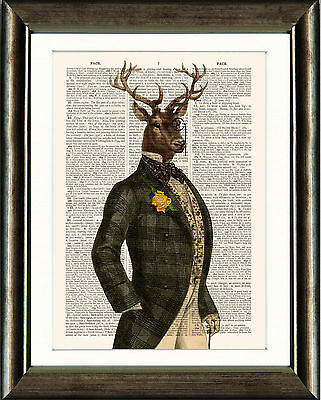 Old Antique Book page Art Print - Dandy Stag Vintage Dictionary Page Print