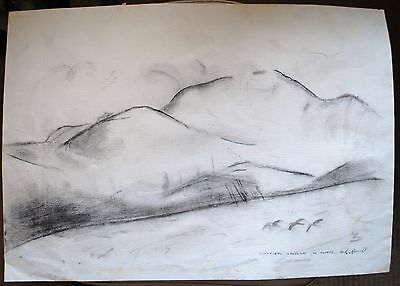 Ted Roocroft Sculptor charcoal drawing of Durness