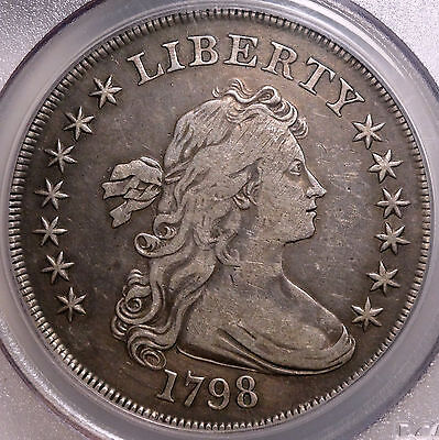 1798 Draped Bust Silver Dollar, Choice Very Fine PCGS Certified Old Type