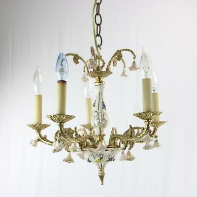 VTG Chandelier Gilt with Porcelain Flowers Italian Great Size Estate 5 Light
