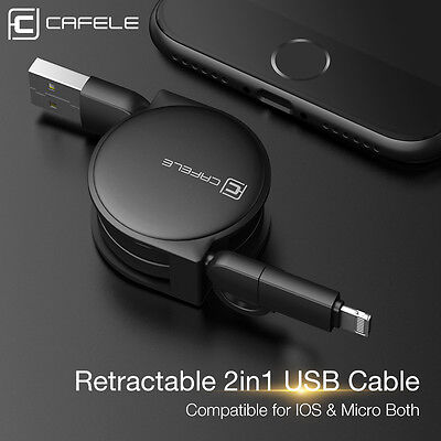 2 in 1 Retractable Extra Long Micro USB Data Sync Charger Cable For iPhoneX 8 7