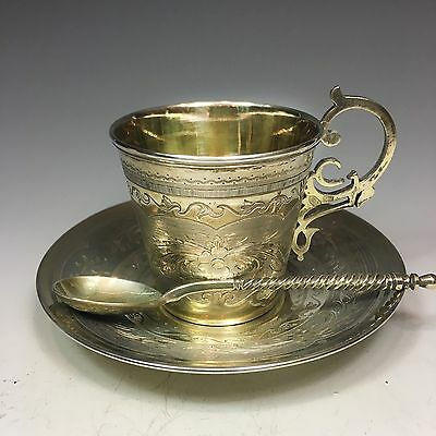 Stunning Russian 84 silver antique Cup Saucer Spoon, Ovchinnikov 1866