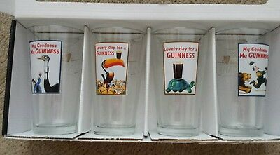 Guinness Pub Bar Glasses Set of 4 Painted Design Turtle, Toucan, Lion & Ostrich