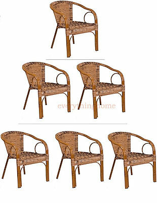 Burning Brown Rattan Restaurant Patio Dining Chair Dark Red Bamboo Aluminum Fram