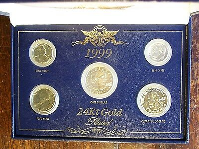 1999 US 24Kt Gold Plated 5  Coin Set