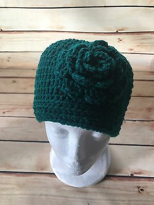 Women's Cable Knit Beanie Applied Flower Green Pink Hat Cap One Size
