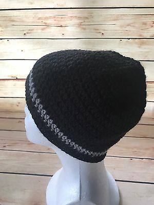 Women's Black Grey Knit Beanie Hat Cap One Size