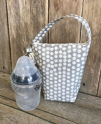 Insulated baby bottle bag,Thermal bottle Warmer,Bottle bag,Grey Spotty Oilcloth