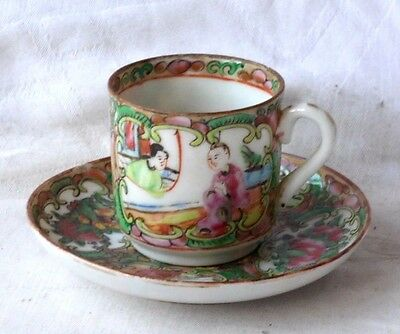 C19Th Chinese Canton Coffee Cup And Saucer Decorated With Various People