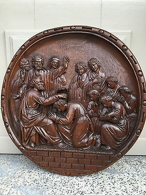 Stunning Flemish Neo Gothic Church Carving/Medaillon the apostles -Fragment oak