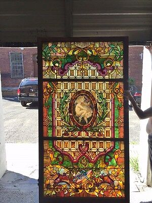 """stained glass window rescued from a silk baron's mansion i 42""""x90"""""""