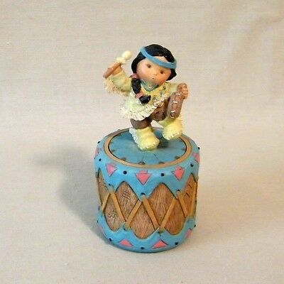 "Friends of the Feather ""Rhythm"" Boy Dancing on Drum Trinket Box - Enesco 1995"