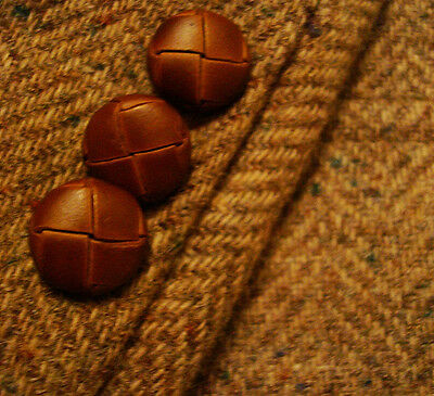 38 L Mens Beige Brown HERRINGBONE Fleck Vtg WOOL TWEED Jacket Blazer Sportcoat !