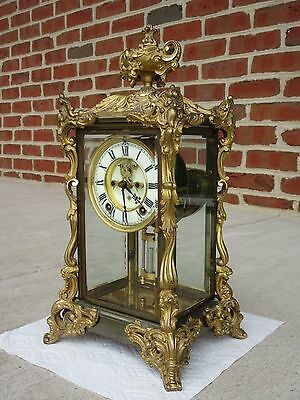 Antique Ansonia Viscount Crystal Regulator Mantel Clock