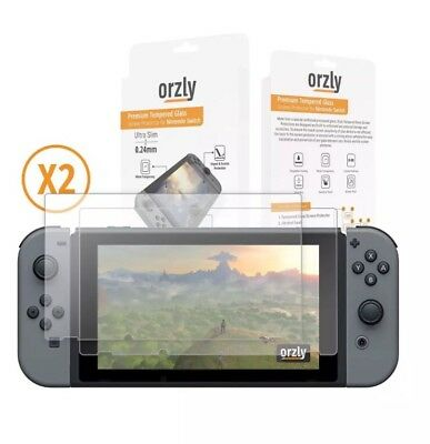 Screen Protector Nintendo Switch Orzly Premium Tempered Glass [0.24mm] Twin Pack