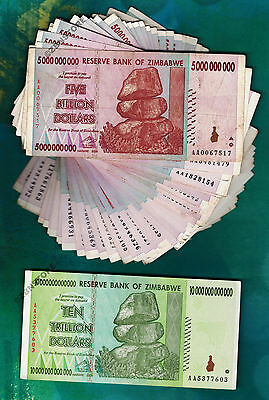 10 Trillion Zimbabwe Dollars + 50 x 5 Billion Banknotes AA AB 2008 Currency Lot