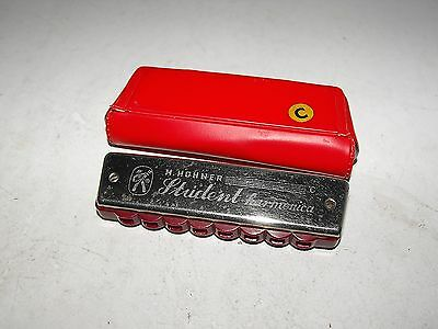 Vintage 50s M.Hohner Student Harmonica C Great Condition Plays Good With Case