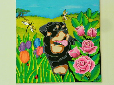 Rottweiler   stretched canvas painting, original