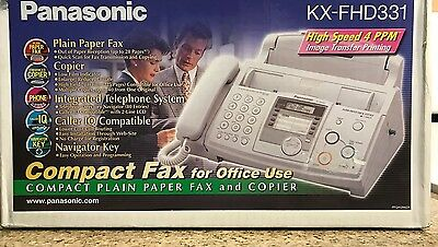 NEW Fax Machine Plain Paper Panasonic KX-FHD331 Compact  Great For Home Offices
