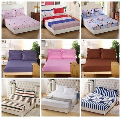 3 Size New Bed Sheet Cover Floral Color Fitted Sheet Twin Full Queen King Cotton