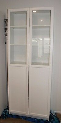 White Ikea Billy Bookcase with Oxberg Panel/Glass doors