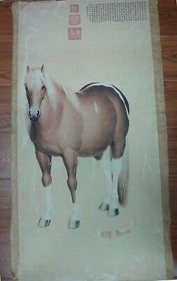 """Large Very Rare Chinese Paper Painting Horse """"QianLong"""" Marks"""