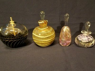 Awesome Hand Blown Art Glass MDINA and more all Signed Perfume bottles