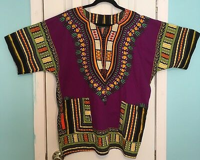 African Print Dashiki Shirt Top Caftan Unisex Size XL Short Sleeve