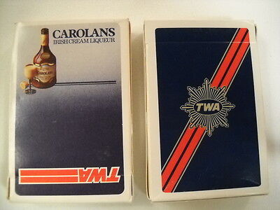 Vintage Lot 2 TWA Airlines Playing Cards Decks Sealed Complete with Original Box