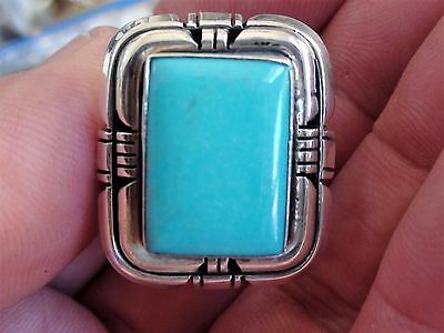 large Vintage Native American Navajo Ring Turquoise Sterling Signed Secatero