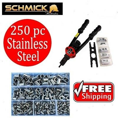 250pc RIVNUT KIT STAINLESS STEEL SCHMICK TOOL M3 M4 M5 M6 M8 NUTSERT SET PACK